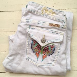Miss me butterfly embroidery bellbottom jeans 27
